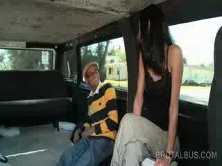 Slim brunette amateur riding the bus for a hardcore fuck