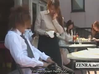 Subtitled kuliste sarılı cafe erection wiping yat