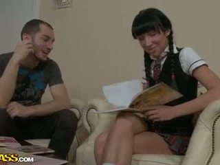 College brunette babe gets fucked by her study partner