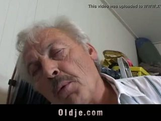 Sexy short haired student sucking grandpa dick