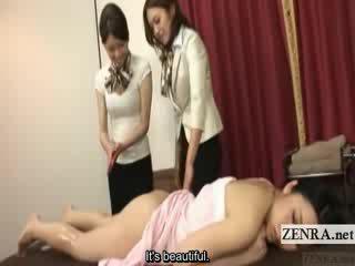 Subtitled japanska lesbisk rumpa olja massagen träning
