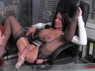 MILF Red Office Fuck Session with a Busty Brunette: Porn 78