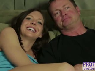 Wet and horny girlfriend Abby Cross takes BF to the milking table