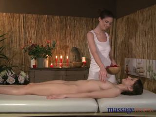 Massage Rooms Two young brunettes get oiled up for some hot lesbian fun