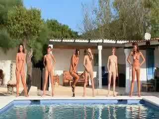 lányok, meztelen, leszbi