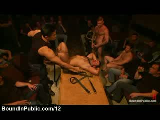 Bound gay fucked by strangers in ass and mouth in theater