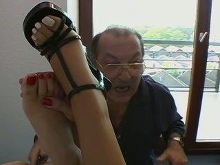 black hair, foot fetish, threesome