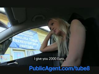 Publicagent panjang haired seksi rambut pirang di kacau outdoors oleh sebuah stranger