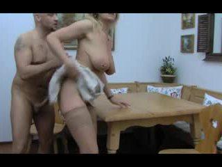 Blonda huge-boobs-granny anal taken