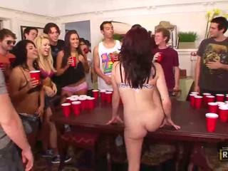 Drunk sex orgy with hot naked girls fucked and licked on the table