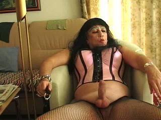 crossdresser, sólo, masturbácia