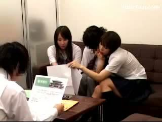 2 Schoolgirls Sucking Guy Fucked While Waiting For The Teachers In The Office