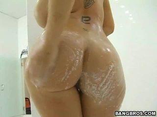hardcore sex, veľké prsia, sprcha