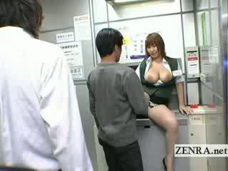 Bizarre japanese post office offers big Titty oral sex ATM