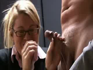 Clothed specs lady learning to jerk off