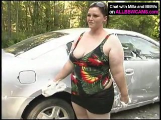 Chunky Cleans Her Huge Chest At Carwash
