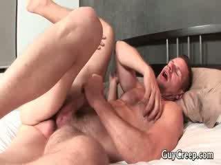 Hot queer guy spying on his sleeping