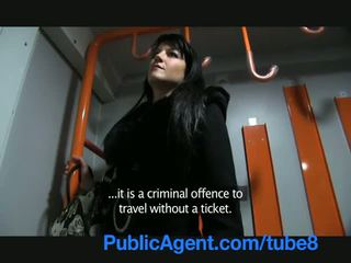 PublicAgent Penelope fucks on the train to avoid the police