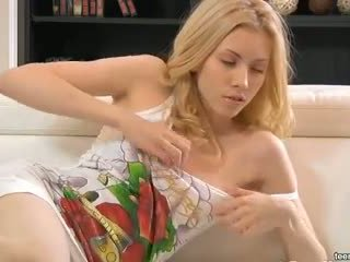 Beautiful blonde Camilla anal action