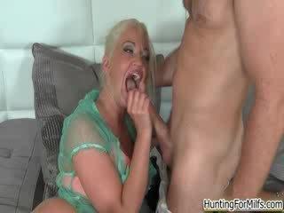 Horny milf goes crazy jerking