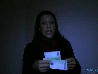 Curvy amateur Samia facialed for money