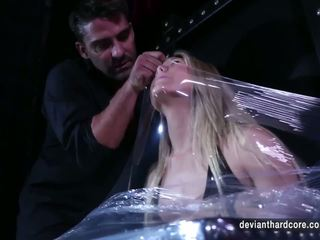 Aj Applegate Bound with Plastic Wrap and Fucked Hard.