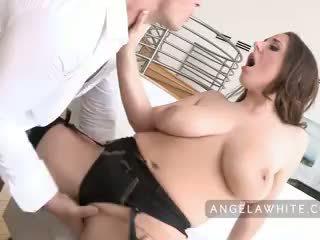 briunetė, oralinis seksas, deepthroat