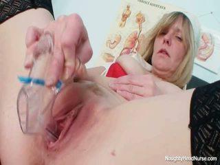 Blondynka wielki cycki mamuśka rozwarcie cipka onto fotel ginekologiczny