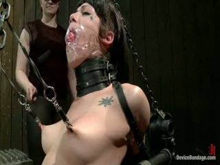 Asphyxia Is Tortured Around Ice, Spikes, Pipe, Chains And A Gas Mask. She's Suspended And Tied To A Floor And A Ladder In A Most Vulnerable Ways.