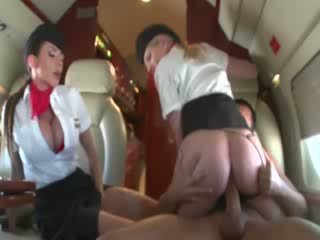 Stewardesses riding a customers cock