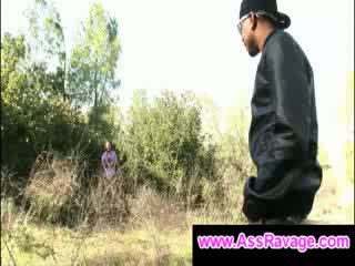 Black thug meets gay dude outside in the woods