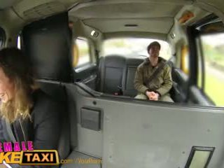 Femalefaketaxi nervous farmer can t satisfy driver