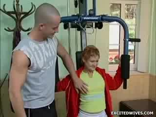 This next door granny went to the gym to get a little exercise, oh yes - she got that alright. Enjoy this lucky chick ho
