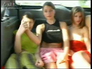 fiatal, lányok, nyilvános