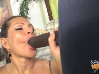 Busty MILF gets ravaged by two dicks in front of her son