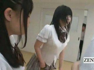 Subtitled kuliste schoolgirls içinde thongs büyük nipel judging