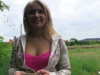 Czech slut Lana pussy pounded in public
