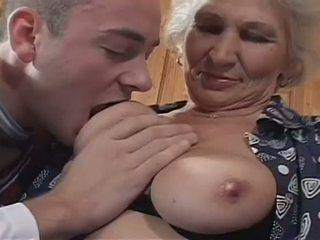 nenek, tits semula jadi besar, stoking