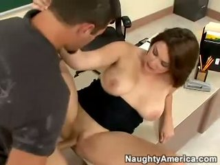 Rockin hot teacher Charlie James gets the right fuck she always wanted behind