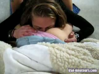 Amateur USA Teenagers Licking Threesome Video
