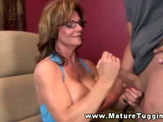 Mature Busty Handjob Milf Tugging On C...